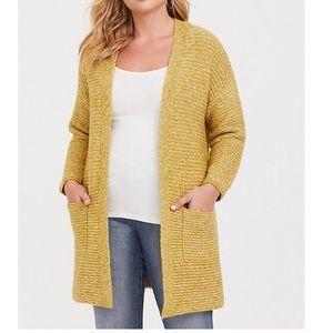 Torrid Yellow Long Slouchy Open Cardigan